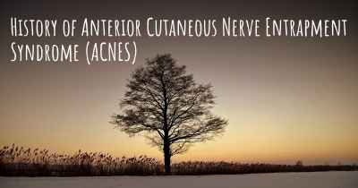 History of Anterior Cutaneous Nerve Entrapment Syndrome (ACNES)