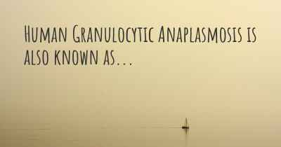 Human Granulocytic Anaplasmosis is also known as...