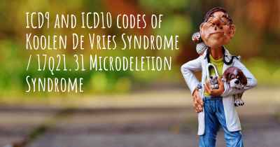 ICD9 and ICD10 codes of Koolen De Vries Syndrome / 17q21.31 Microdeletion Syndrome