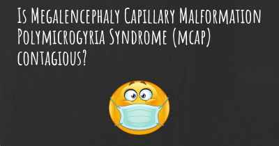 Is Megalencephaly Capillary Malformation Polymicrogyria Syndrome (mcap) contagious?