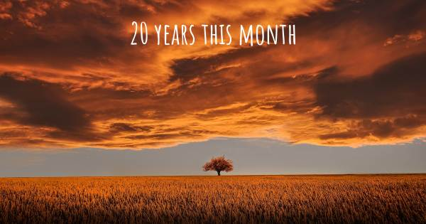 20 YEARS THIS MONTH